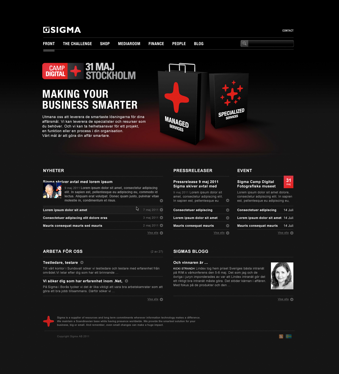 Sigma AB Website (Screenshot) Front